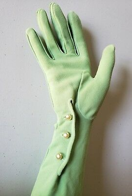 Vintage Long Green Gloves With Pearl Closures