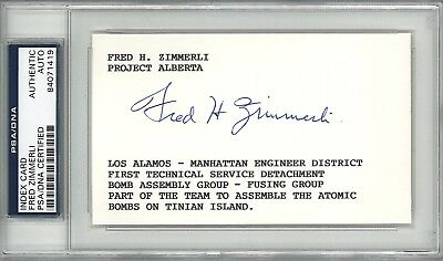 Fred Zimmerli Signed Index Card Psa Dna 84071419 (D) Los Alamos Project Alberta