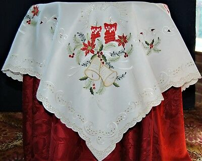 Off White Square Christmas Table Cloth  Red Embroidered Candles And Bells