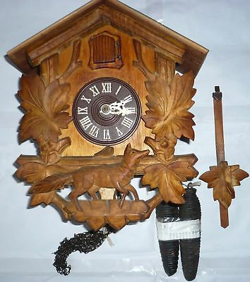 Large Vintage Cuckoo Clock, runs ok nice carving of a Fox. Maybe a little tlc