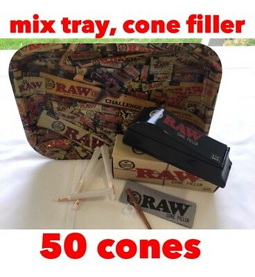 "Raw mix tray(small)11""x7""+ raw filler + RAW Organic cones 1 1/4 Size  (50 pack)"