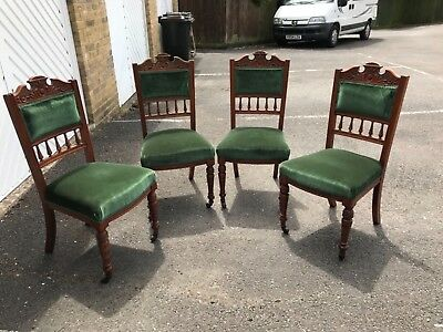 set of 4 solid original victorian dining room chairs