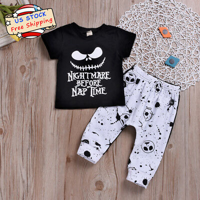 Toddle Baby Boy Disney Jack Short Sleeve T-shirt+Pants Halloween Clothes Outfits