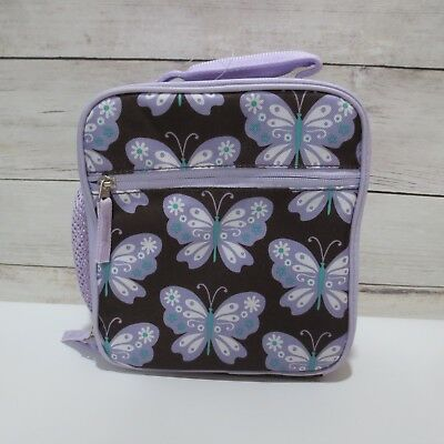 Pottery Barn Kids Insulated BUTTERFLY  Lunch Box classic Chocolate & Lavender