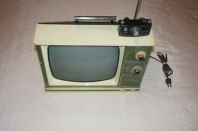 """Vintage Zenith Solid State 12"""" Tv With Antenna And Carrying Handle"""