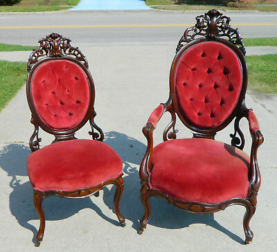 Rosewood Rococo Parlor Chairs attributed to Meeks