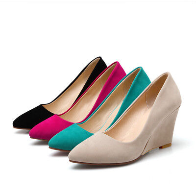 722ab01f211e Women s Simple Stylish Pointy Toe Suede Wedge Heel Shoes Pump Sandals Plus  Size