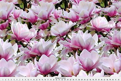 Magnolia Magnolias Pink White Spring Flowers Fabric Printed By