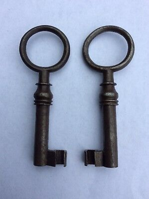 Antique Vintage Cabinet Key Matching Mirrored Pair Lot Skeleton Victorian