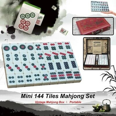 Portable Chinese Mahjong Game Set With Ivory Colored Tiles Majiang Indoor Game