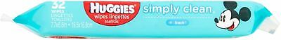 2 Pack Huggies Simply Clean Wipes, 32 Count each total 64 count