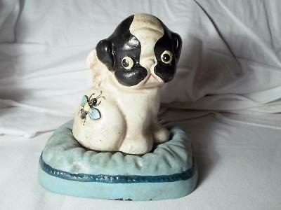 Cute Cast Iron Boston Terrier Puppy Dog On Pillow W/ Bee Coin Money Savings Bank