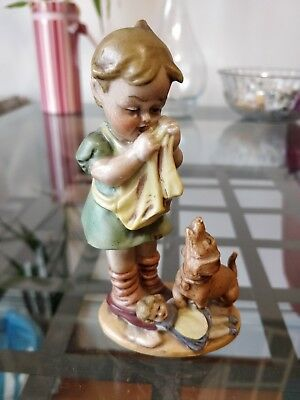 Wagner & Apel Antique Vintage Porcelain Figurine Hummel Like Girl with Dog