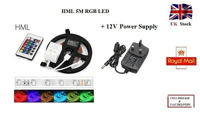 5M RGB LED Strip Light with 24 Key Remote Controller IR Receiver with 12V Supply