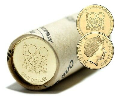 2018 100 Years of Anzac Aus $1 One Dollar - Spirit Lives RAM Roll only 5K made