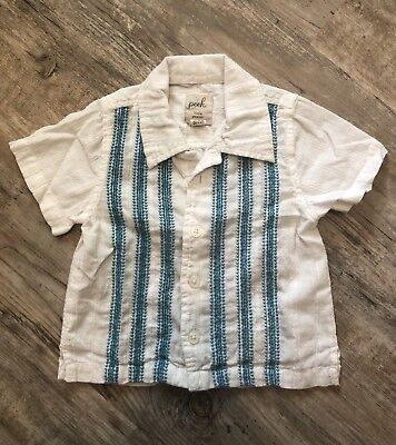Peek Little Peanut Boys 12-18M Wht/Dark Turq Guyabera Style Button Dwn Shirt EUC