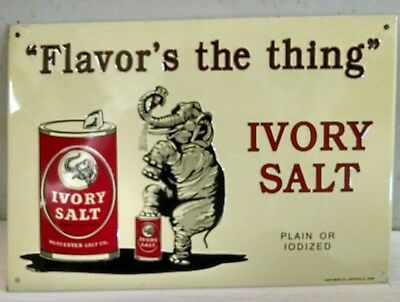 Ivory Salt Elephant - Flavor's the thing  Vintage metal advertising Sign RARE!!