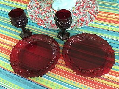 Set of AVON Ruby Red Cape Cod Cordial Glasses and Dessert Plates