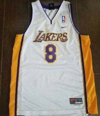 Vintage Nike Los Angeles Lakers Kobe Bryant 8 Home White Jersey YOUTH L Sewn 449296847