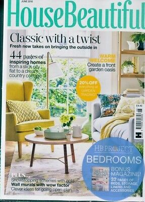 House Beautiful Magazine June 2018 ~ With Free Hb Project Bedrooms Mag ~ New