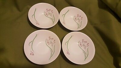 """Lot 4: Martha Stewart  6.5"""" Cereal Soup Bowls with Purple Flowers France"""