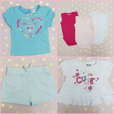 Bulk Baby Girls Clothes Including bodysuits, t-shirts & shorts 000 (0-3 months)