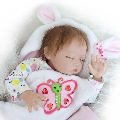 "22"" Reborn Doll Girl Handmade Real Looking Newborn Baby Vinyl Silicone Realistic"