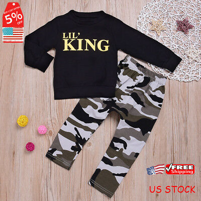 Kids Toddler Baby Boys KING T-shirt Tops+Camouflage Pants Outfits Clothes Set US