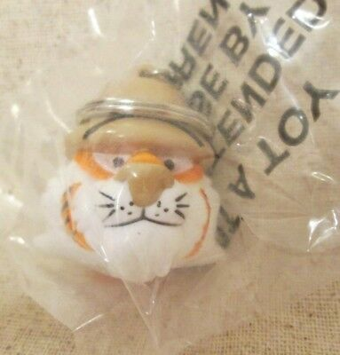 Exxon Tiger Head Safari Oil Gas Station Plastic Promo Keychain 1997 NOS NIP