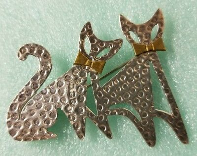 Mexican Sterling Silver 925 Taxco Pin/Brooch - Cats With Brass Bowties