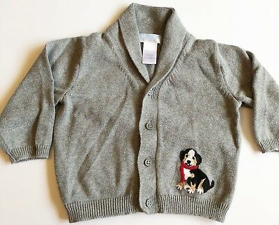 Janie and Jack Boys Cardigan 12 to 18 months Gray Dog Puppy Long Sleeve