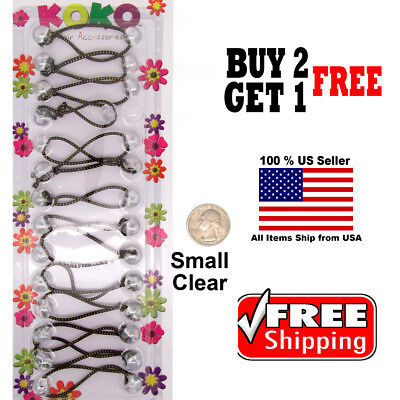 Clear Braid Girls Kids Scrunchie Small Beads Hair Tie Ball Ponytail Holder Bands