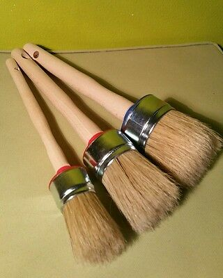 3-CHALK PAINT & WAX shabby pure bristle ROUND PAINT BRUSHES set:50mm 40mm 30mm
