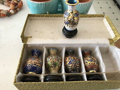 VINTAGE PAIR SMALL CHINESE CLOISONNÉ VASES Set of 4 with stands