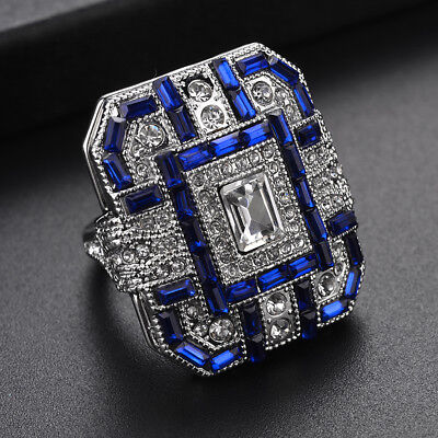 Vintage Women Square Synthetic Sapphire Crystal Ring Bohemian Knuckle Rings Z