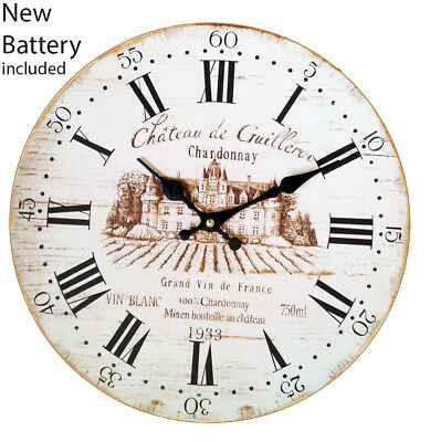 Wall Wine Clock Vintage Novelty Large Retro Shabby Chic 34 cm with battery