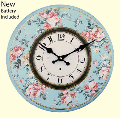 Blue Floral Wall Clock Vintage Large Retro Shabby Chic 34 cm with battery