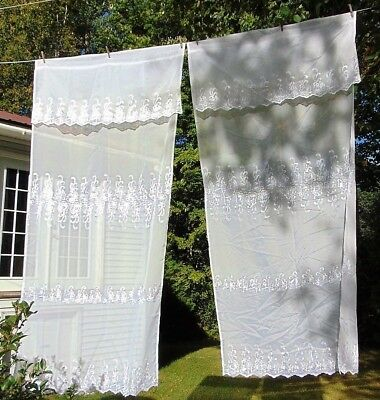PAIR Sheer Embroidered Curtain Panels with Attached Valance White Eyelet Floral