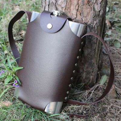 Hip Flask Flagon Wine Pot 64OZ Metal Bottle With Leather Cover Stainless Steel