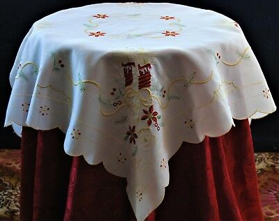 Christmas Cream Small Square Table Cloth Red Embroidered Candles And Bells.