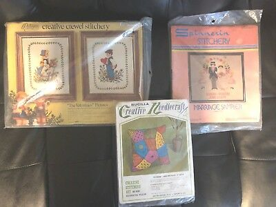 VTG Folk Art Needlecraft Kits-Crewel Embroidery Pillow/Pictures-Wedding Sampler+