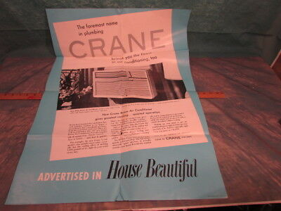 Vintage Crane plumbing bathroom Advertising air conditioning poster 1954