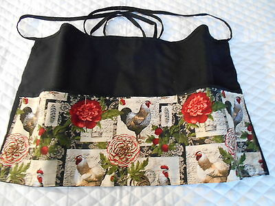 3 POCKET Server WAITRESS WAIST APRON Roosters & Flowers W/WO Name Lady Pizazz