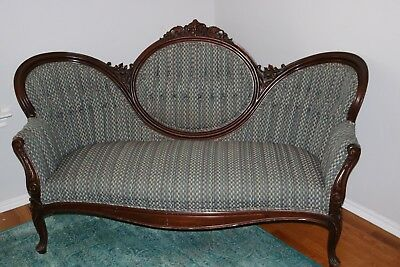 Rare set of Antique Victorian Carved Walnut Settee & Armchair