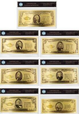 "1928 Banknote United States 24Kt Gold Foil (7 Piece Set) Uncirculated ""Rare""  L1"