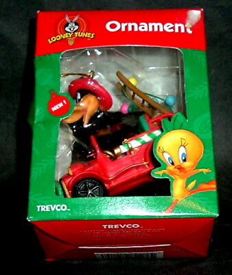 1996 Daffy Duck Christmas Ornament Fire Truck