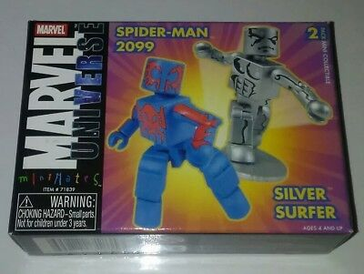 "Minimates MARVEL ""SPIDER-MAN 2099 and SILVER SURFER"" HTF!!"