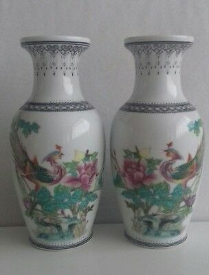 Pair Vintage Chinese Vases With Poem Peacocks & Lace Detail. Stamp On Bottom.