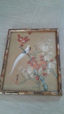 vintage Chinese painting on cork paper