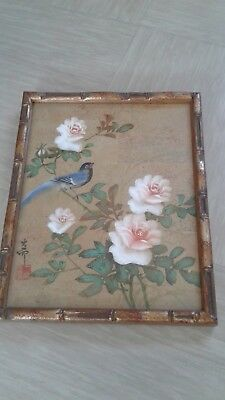 vintage Chinese water colour on cork paper